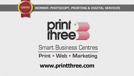 Printing service guelph commercial printing print three guelph print three consumer choice award video reheart Image collections